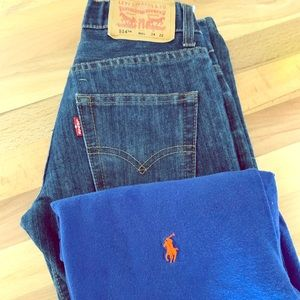 Polo T-shirt and Levi's jeans.
